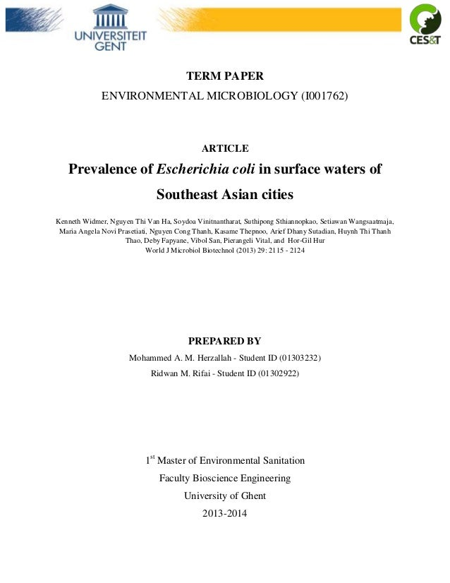 TERM PAPER ENVIRONMENTAL MICROBIOLOGY (I001762)  ARTICLE  Prevalence of Escherichia coli in surface waters of Southeast As...