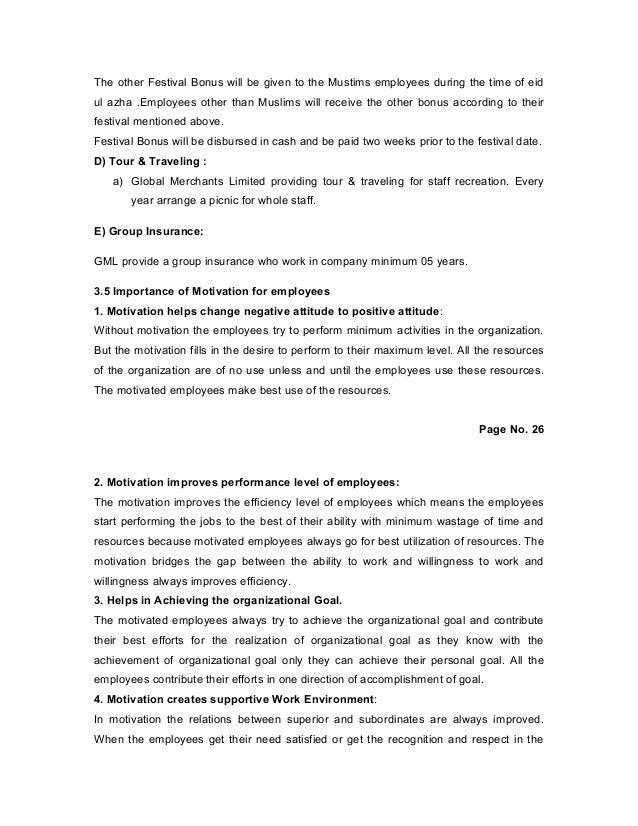 Term Paper Employee Motivation of Global Merchants Limited