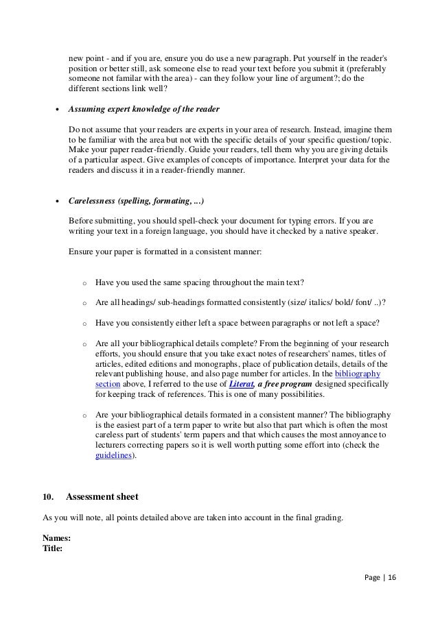 term paper reference page example