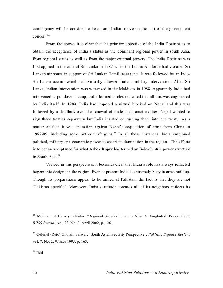 essay on india and pakistan relation