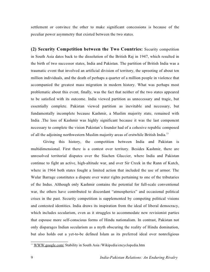 507 words essay on Indo-Pak Relations