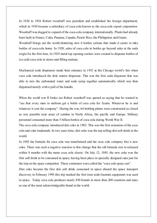 term paper of coca cola This 4 page paper is a semiotic analysis of a print advisement of a coca-cola advertisement, looking at the signifiers and the signified and interpreting the meanings of all the signs in the advertisement.