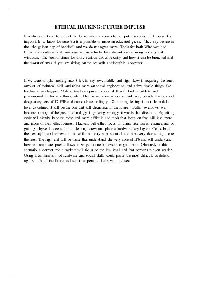 Term paper on ethical hacking