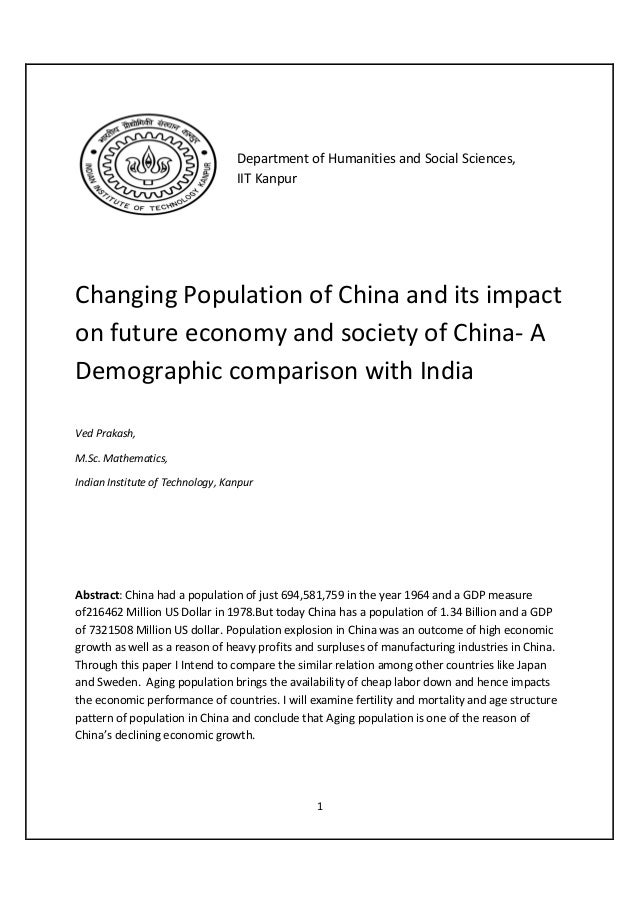 Department of Humanities and Social Sciences,                                  IIT KanpurChanging Population of China and ...