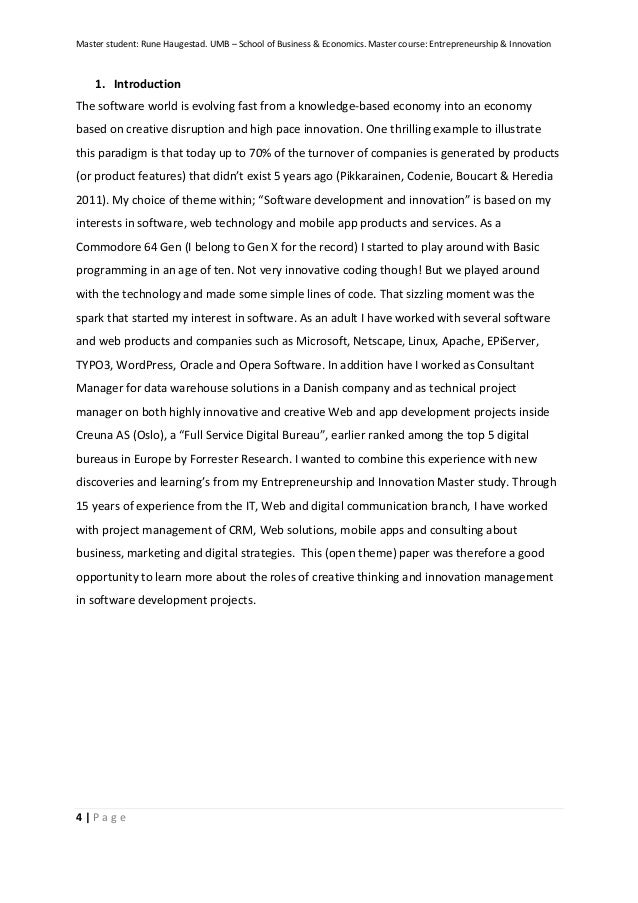 example of term paper about business