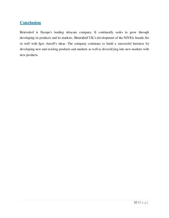 ansoffs beiersdorf Antecedentes tipo de marca: productos cosméticosorganización u empresa: beiersdorf agtipo de organización: bcg ansoff fuerzas de porter visión.