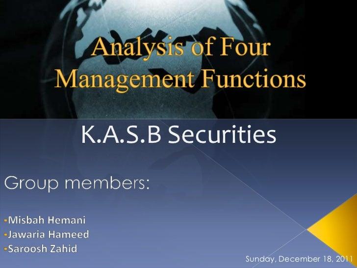 K.A.S.B Securities               Sunday, December 18, 2011