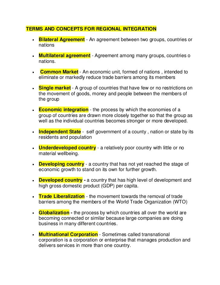 Terms And Concepts For Regional Integration