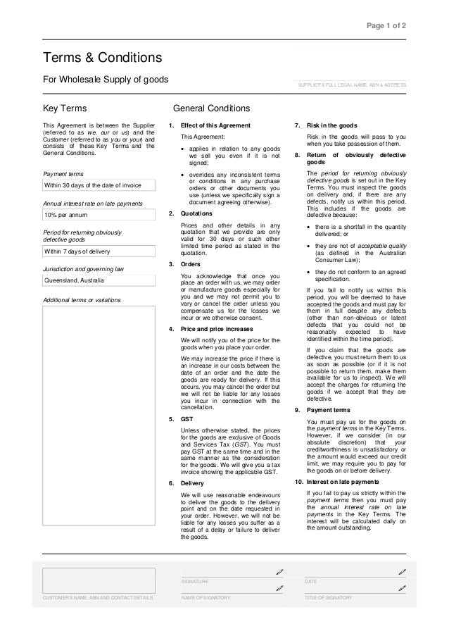 Terms & conditions for wholesale supply of goods template sample ….