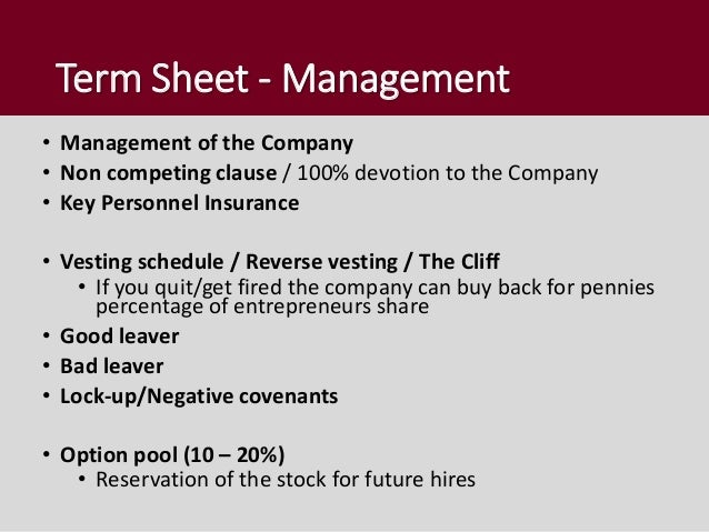 Reverse vesting stock options