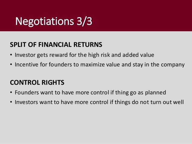 After the investment • Professional relation • Investor is not daily active in the company • Filling the information asymm...