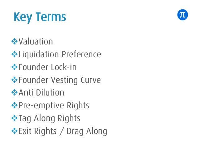 Key Terms vValuation vLiquidation Preference vFounder Lock-in vFounder Vesting Curve vAnti Dilution vPre-emptive Rights vT...