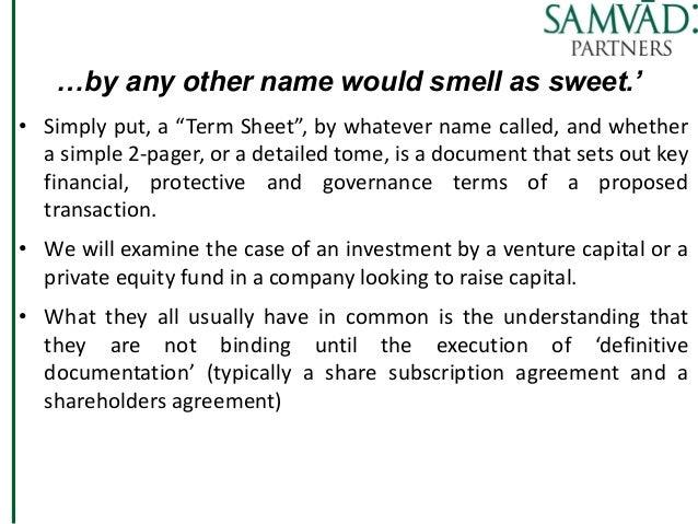 Term Sheets Legal Issues By Ms Neela Badami Of Samvaad Ventures