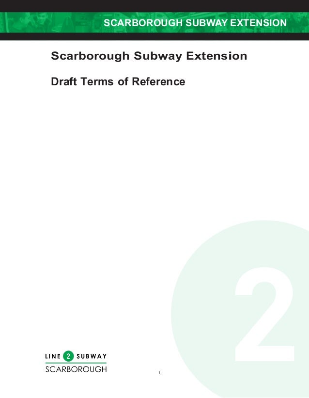 Scarborough Subway Extension Project Assessment Draft