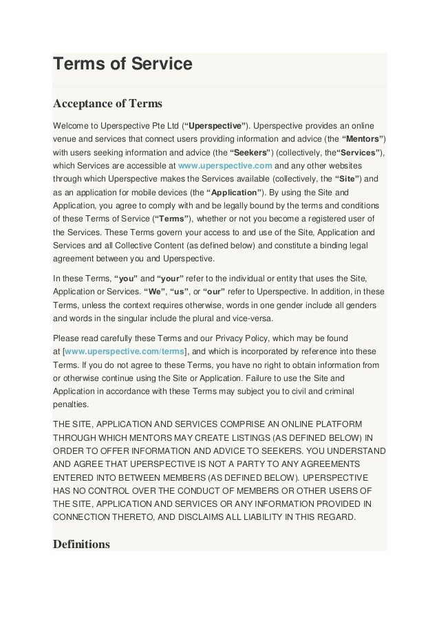 """Terms of Service Acceptance of Terms Welcome to Uperspective Pte Ltd (""""Uperspective""""). Uperspective provides an online ven..."""