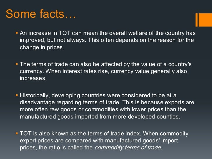 net barter terms of trade index