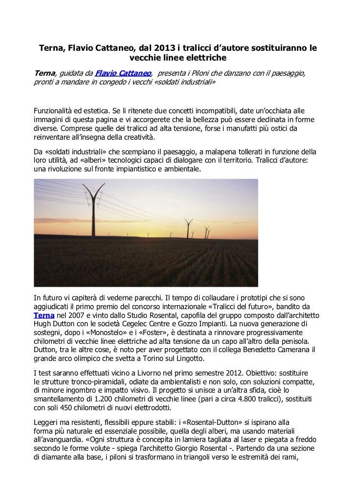 Terna, Flavio Cattaneo, dal 2013 i tralicci d'autore sostituiranno le                      vecchie linee elettricheTerna, ...