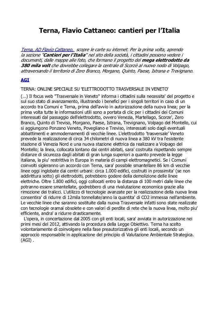 Terna, Flavio Cattaneo: cantieri per l'ItaliaTerna, AD Flavio Cattaneo, scopre le carte su internet. Per la prima volta, a...