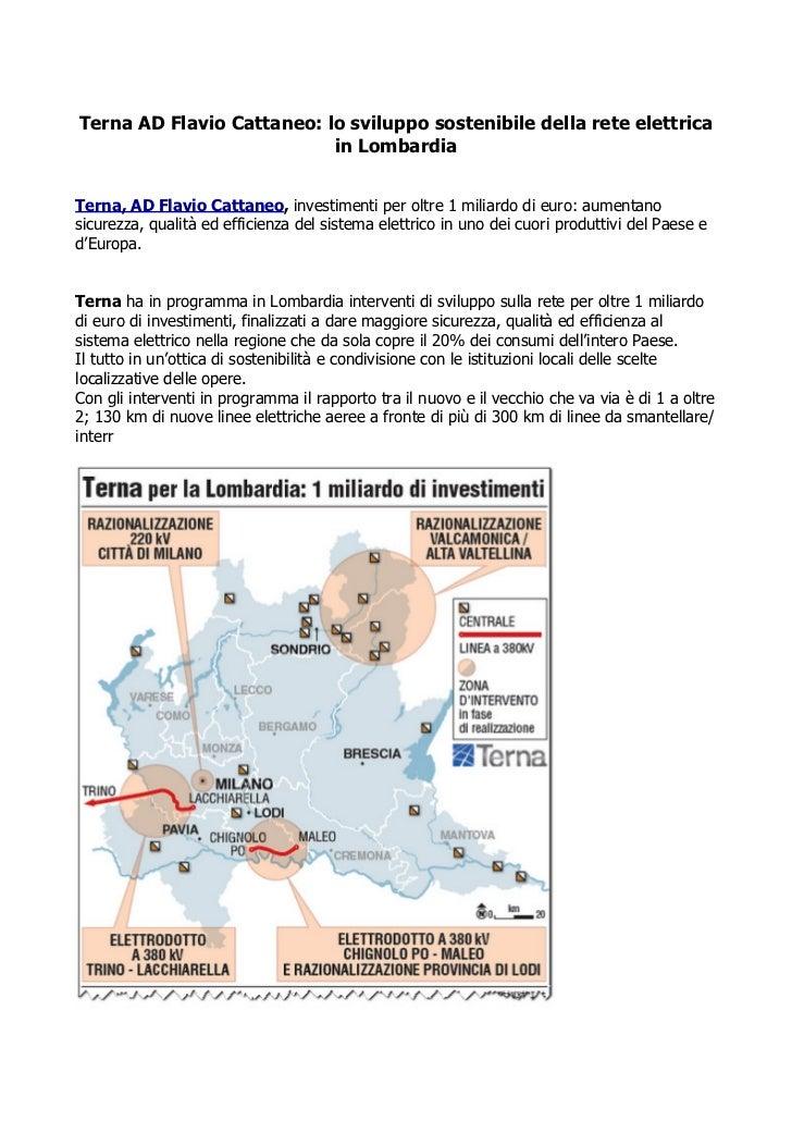Terna AD Flavio Cattaneo: lo sviluppo sostenibile della rete elettrica                           in LombardiaTerna, AD Fla...