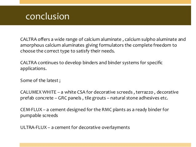 Calcium Aluminate Cement Applications : Cement in ternary system