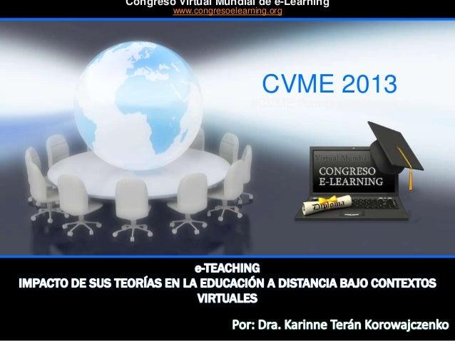 CVME 2013 #CVME #congresoelearning Congreso Virtual Mundial de e-Learning www.congresoelearning.org