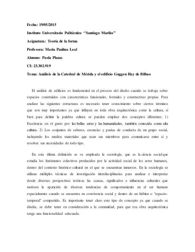 Fecha: 19/05/2015 Instituto Universitario Politécnico ''Santiago Mariño'' Asignatura: Teoría de la forma Profesora: Maria ...