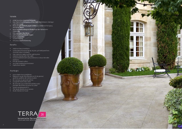 TERRA/ 20 keramische Terrassenplatten ceramic patio slabs | dalles de patio en céramique Benefits: • simple and easy inst...