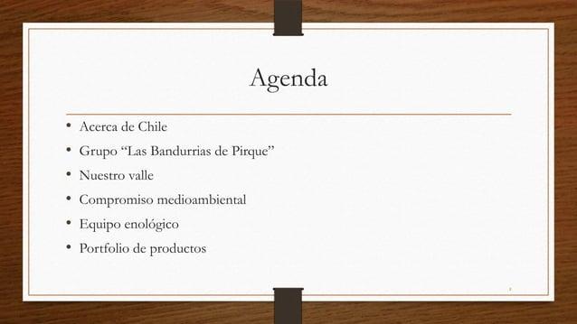 """Agenda•   Acerca de Chile•   Grupo """"Las Bandurrias de Pirque""""•   Nuestro valle•   Compromiso medioambiental•   Equipo enol..."""