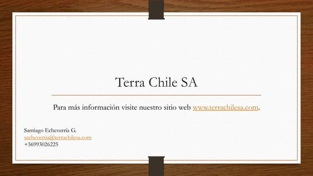 Terra Chile SA            Para más información visite nuestro sitio web www.terrachilesa.com.Santiago Echeverría G.secheve...