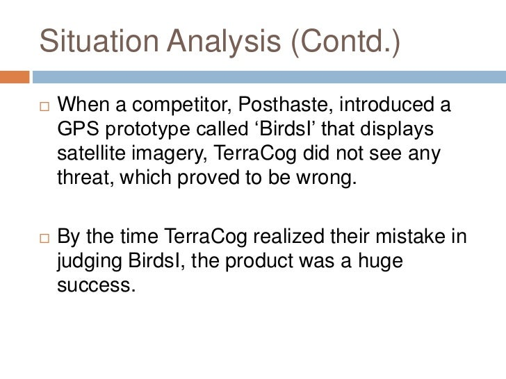 terracog gps An impasse has occurred in the pricing decision of aerial, terracog's satellite imagery enabled gps, due to a distinct mismatch in the price estimated by the production department and the desired price, set by the sales department.
