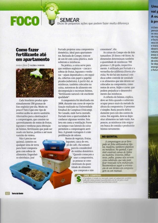 l Kl SEMEARDicas de pequenas ações que podem fazer muita diferença Comofazer fertilizanteaté em apartamento texto efotos A...