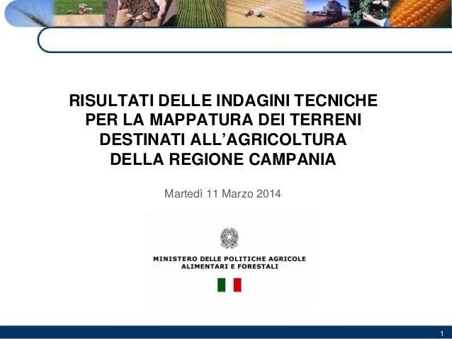 RISULTATI DELLE INDAGINI TECNICHE PER LA MAPPATURA DEI TERRENI DESTINATI ALL'AGRICOLTURA DELLA REGIONE CAMPANIA Martedì 11...