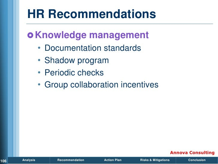 HR Recommendations          Knowledge management                  •   Documentation standards                  •   Shadow...