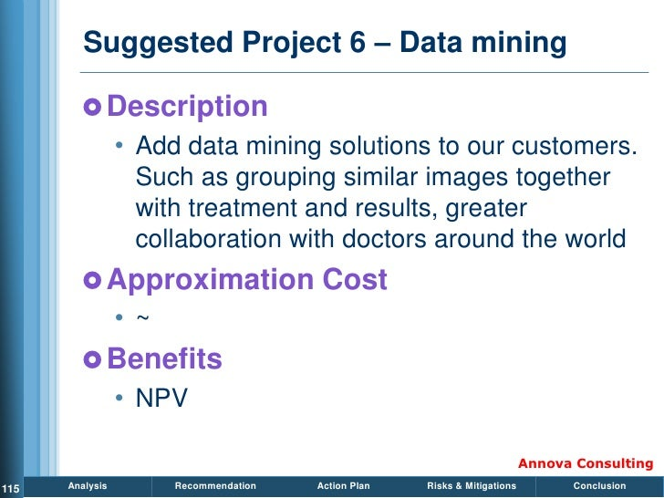 Suggested Project 6 – Data mining           Description                  • Add data mining solutions to our customers.   ...