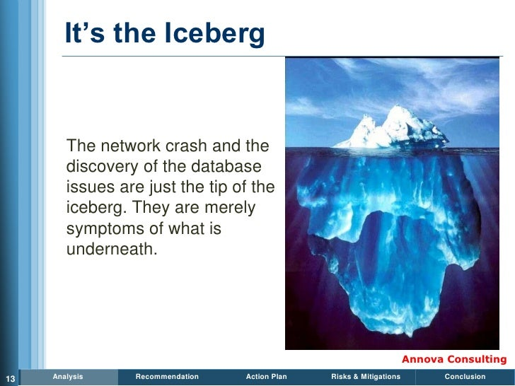 It's the Iceberg           The network crash and the         discovery of the database         issues are just the tip of ...