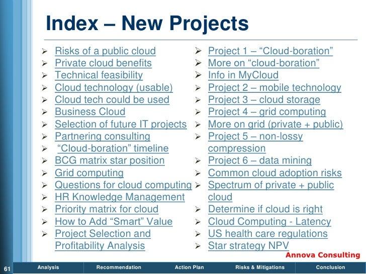 Index – New Projects           Risks of a public cloud                Project 1 – ―Cloud-boration‖           Private cl...