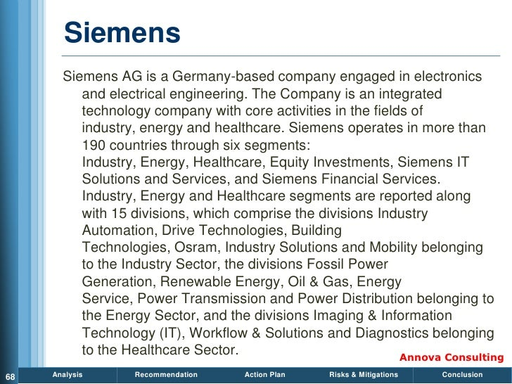 Siemens        Siemens AG is a Germany-based company engaged in electronics           and electrical engineering. The Comp...