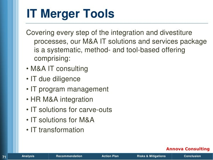 IT Merger Tools        Covering every step of the integration and divestiture           processes, our M&A IT solutions an...
