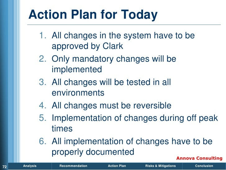 Action Plan for Today                 1. All changes in the system have to be                    approved by Clark        ...