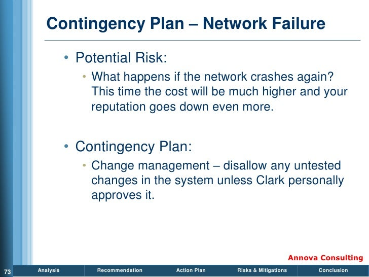 Contingency Plan – Network Failure                  • Potential Risk:                    • What happens if the network cra...