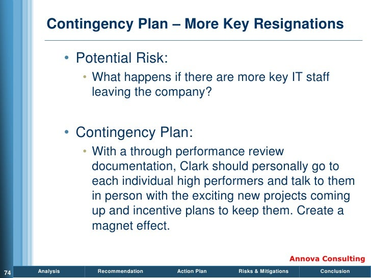 Contingency Plan – More Key Resignations                  • Potential Risk:                    • What happens if there are...