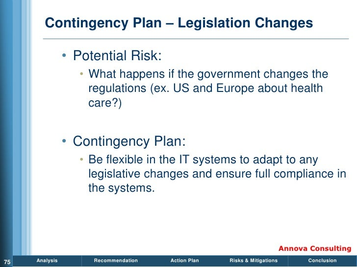 Contingency Plan – Legislation Changes                  • Potential Risk:                    • What happens if the governm...