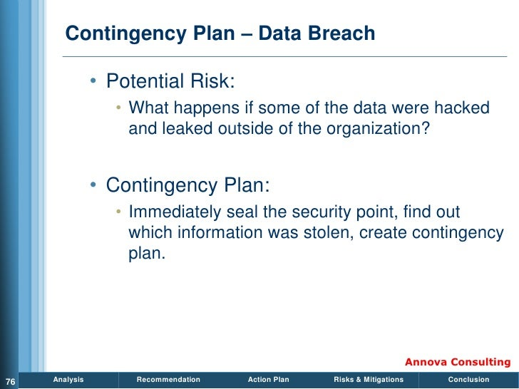 Contingency Plan – Data Breach                  • Potential Risk:                    • What happens if some of the data we...