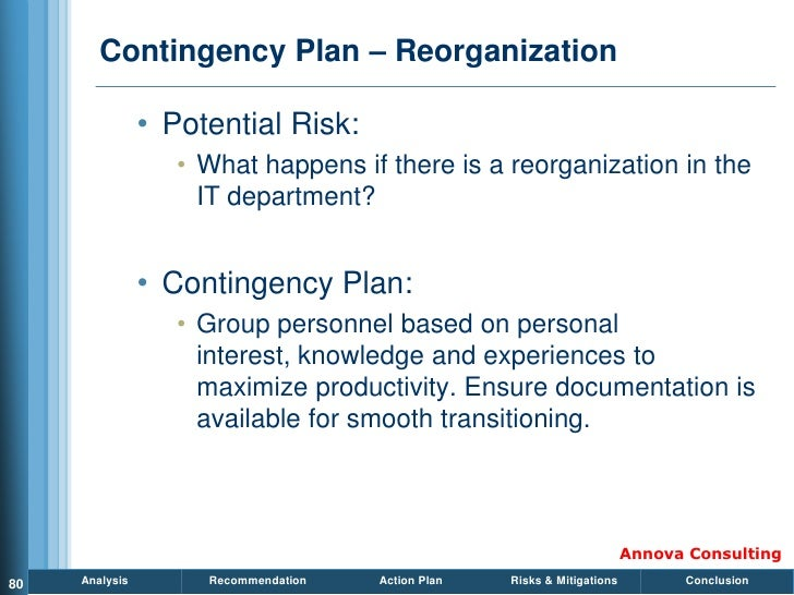 Contingency Plan – Reorganization                  • Potential Risk:                    • What happens if there is a reorg...