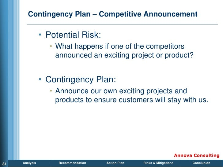 Contingency Plan – Competitive Announcement                  • Potential Risk:                    • What happens if one of...