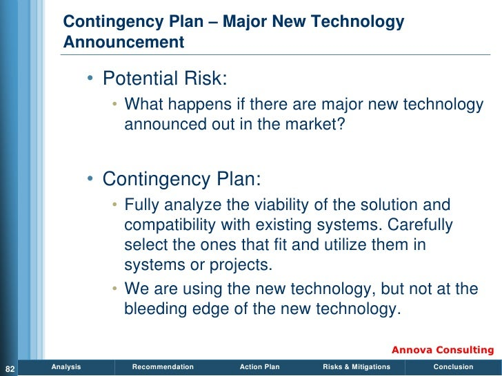 Contingency Plan – Major New Technology         Announcement                  • Potential Risk:                    • What ...