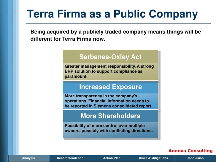 Terra Firma as a Public Company      Being acquired by a publicly traded company means things will be      different for T...