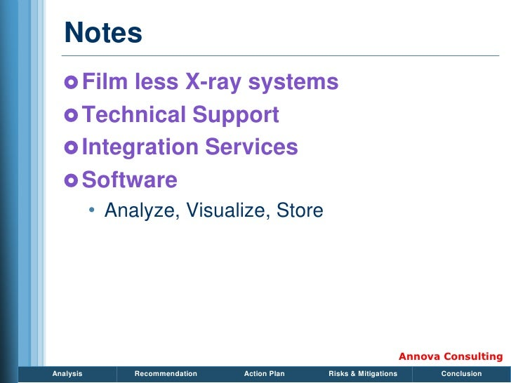 Notes    Film less X-ray systems    Technical Support    Integration Services    Software            • Analyze, Visual...