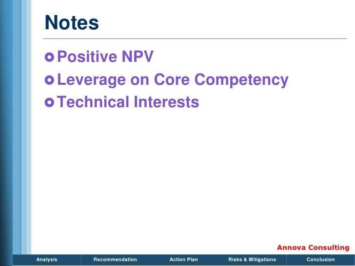 Notes    Positive NPV    Leverage on Core Competency    Technical Interests                                            ...