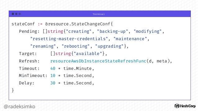 """Terminal @radeksimko $ terraform plan ~ aws_instance.app tags.%: """"0"""" => """"1"""" tags.Name: """""""" => """"HelloWorld"""" Plan: 0 to add, ..."""